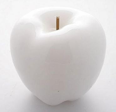 Dekorativní svíčka ve tvaru jablka 8 cm - SET 2 ks, bílá