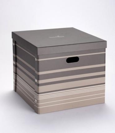 Úložná krabice s víkem Kaspík, hnědá