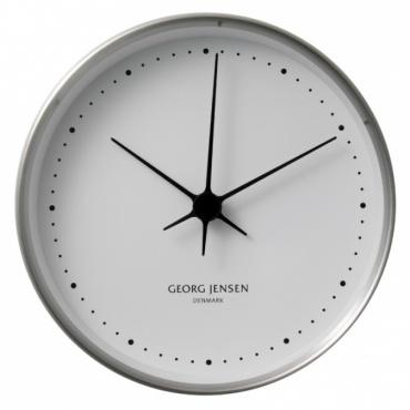 Hodiny Koppel, 10 cm, nerez/bílá