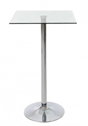 Barový stůl Dipallo hranatý, 70 cm, čirá / nerez