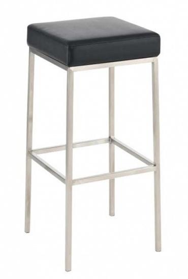 Barová židle s nerezovou podnoží Mopelo, černá, výška 80 cm