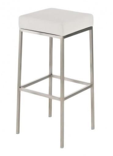 Barová židle s nerezovou podnoží Mopelo, bílá, výška 80 cm