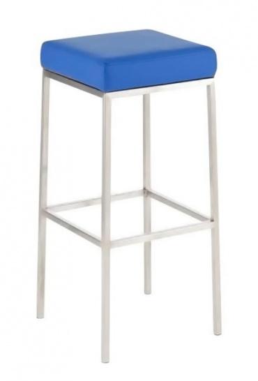 Barová židle s nerezovou podnoží Mopelo, modrá, výška 80 cm