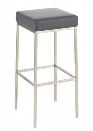 Barová židle s nerezovou podnoží Mopelo, šedá, výška 80 cm