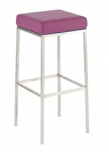 Barová židle s nerezovou podnoží Mopelo, fialová, výška 80 cm