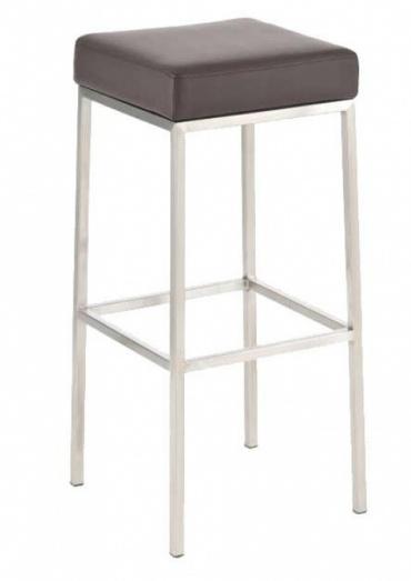 Barová židle s nerezovou podnoží Mopelo, hnědá, výška 80 cm