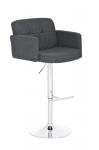 Barová židle Pompe, látkový potah, šedá