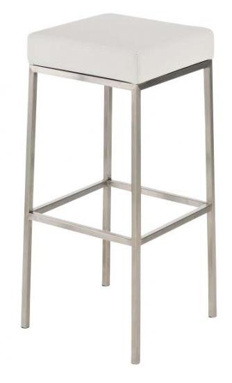 Barová stolička Joel, výška 80 cm, nerez-bílá