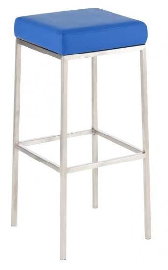 Barová stolička Joel, výška 80 cm, nerez-modrá