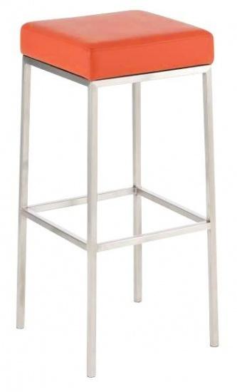 Barová stolička Joel, výška 80 cm, nerez-oranžová