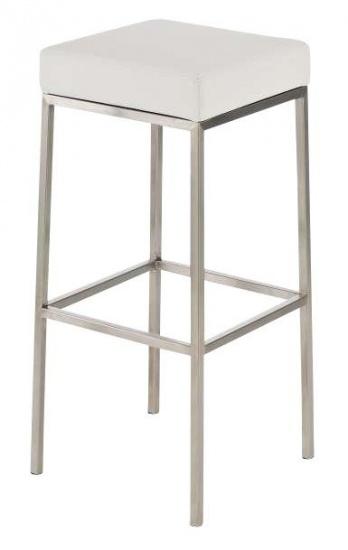 Barová stolička Joel, výška 85 cm, nerez-bílá