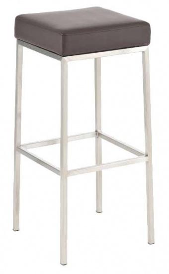 Barová stolička Joel, výška 85 cm, nerez-hnědá