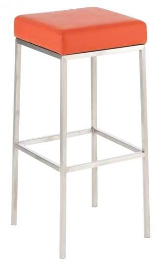 Barová stolička Joel, výška 85 cm, nerez-oranžová