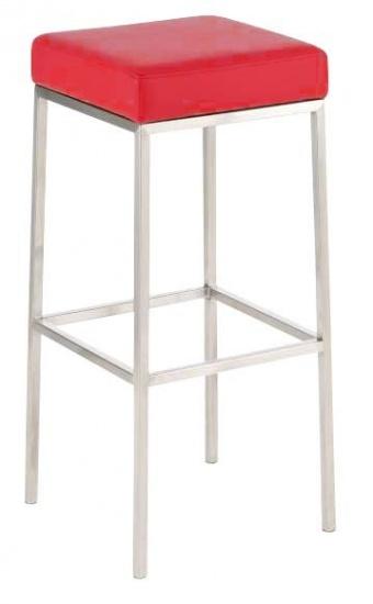 Barová stolička Joel, výška 85 cm, nerez-červená