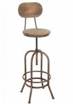 Rustikální barová židle Piano, kovová podnož / dřevo