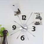Nástěnné hodiny Neden, 43 cm, stříbrná / černá
