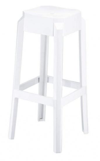 Plastová barová židle Tower, bílá lesklá