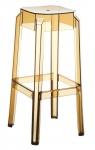 Plastová barová židle Tower, čirá-jantarová