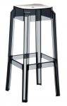 Plastová barová židle Tower, čirá-černá