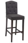 Barová židle Louise látkový potah, antik, tmavě šedá