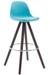 Barová židle Franklin syntetická kůže, podnož kulatá Cappuccino (buk), modrá