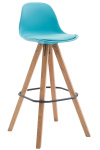 Barová židle Franklin syntetická kůže, podnož hranatá přírodní (buk), modrá