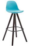 Barová židle Franklin syntetická kůže, podnož hranatá Cappuccino (buk), modrá