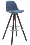 Barová židle Franklin látkový potah, podnož kulatá Cappuccino (buk), modrá