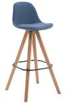 Barová židle Franklin látkový potah, podnož hranatá přírodní (buk), modrá
