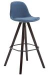 Barová židle Franklin látkový potah, podnož hranatá Cappuccino (buk), modrá
