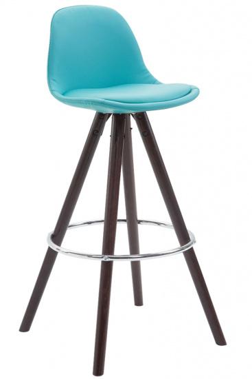 Barová židle Franklin čalounění syntetická kůže, podnož kulatá Cappuccino (buk), modrá