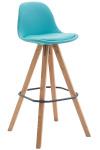 Barová židle Franklin čalounění syntetická kůže, podnož hranatá přírodní (buk), modrá