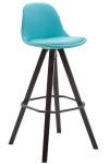 Barová židle Franklin čalounění syntetická kůže, podnož hranatá Cappuccino (buk), modrá