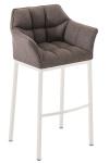 Barová židle Damaso, látkový potah, šedá