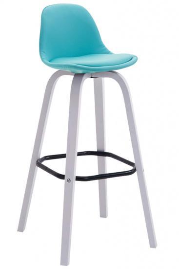 Barová židle Avika čalounění syntetická kůže, bílá, modrá