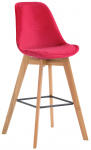 Barová židle Metz samet přírodní, červená