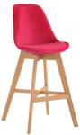 Barová židle Cannes samet přírodní, červená