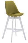 Barová židle Cannes látkový potah, bílá, zelená