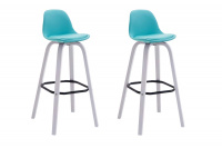 2 ks / set barová židle Avika syntetická kůže, bílá, modrá