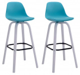2 ks / set barová židle Avika plast bílá, modrá
