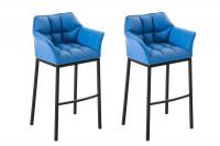 2 ks / set barová židle Damaso syntetická kůže, černá, modrá