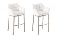 2 ks / set barová židle Damaso syntetická kůže, nerez, bílá