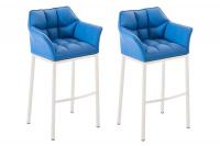2 ks / set barová židle Damaso syntetická kůže, bílá, modrá