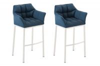 2 ks / set barová židle Damaso látkový potah, bílá, modrá