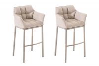 2 ks / set barová židle Damaso látkový potah, nerez, slonová kost