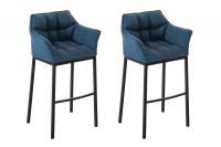2 ks / set barová židle Damaso látkový potah, černá, modrá