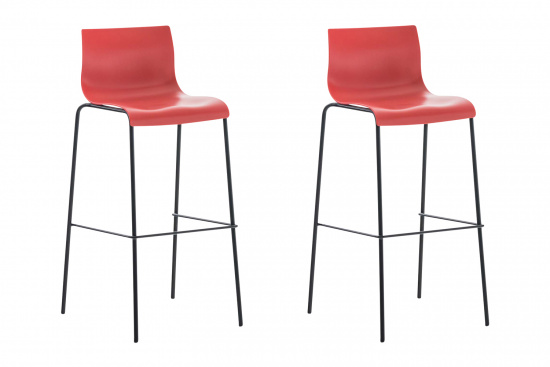 2 ks / set barová židle Hoover plast černá, červená