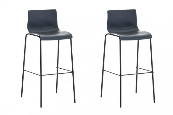 2 ks / set barová židle Hoover plast černá, šedá