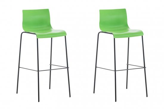 2 ks / set barová židle Hoover plast černá, zelená