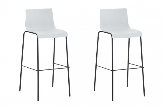 2 ks / set barová židle Hoover plast černá, bílá